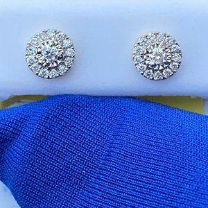 14k Stud Diamond Yellow Gold Cluster Earrings